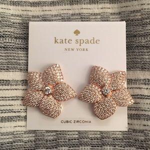 KATE SPADE rose gold pave bloom earrings